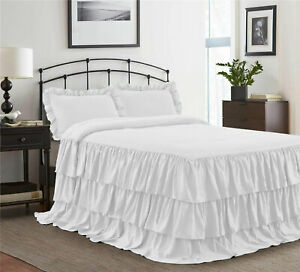 "3 Piece 800tc Egyptian Cotton New Ruffle Bed Spread 20"" drop all size &color"