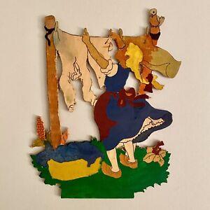 1960er Laubsägearbeit 20cm Graupner Graubele Wäscheleine-Mädchen SHABBY CHIC Rar