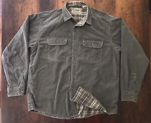 Men's LL Bean Flannel Lined Hurricane Chore Work Shirt Green Sz Large L