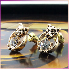 New 18K Gold Plated Leopard Head Crystal Stud Earrings