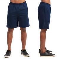 Men Athletic Long Mesh Pocket Gym Shorts Sports Basketball Running Navy Size 2XL