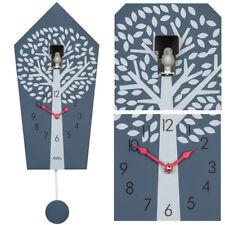 AMS 7287 Kuckucksuhr Wanduhr Quarz mit Pendel rot grau mit Baum Muster Pendeluhr