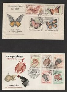Laos Sc #101-3, 122-5, 152-5, C46-51 4 First Day Covers, Birds, Animals Flowers