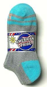 3 P K. BELL Ladies Gray w/ Blue Heel & Toe Soft Low Cut Sock Shoe SZ(4-8).