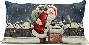 PEGGY WILKINS BLUE WHITE MOONLIGHT VISIT SANTA FILLED CUSHION CHRISTMAS 26X1