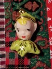 Vintage Mid-Century Ceramic Elf Head Face Christmas Holiday Brooch Pin Jewelry