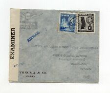 !!! MALTA, 1943 AIRMAIL COVER TO FRENCH MOROCCO, WITH CENSORSHIP