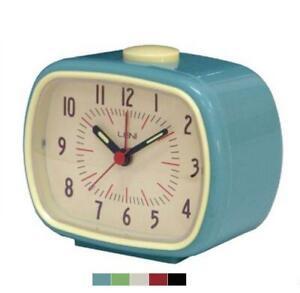 Leni Retro Alarm Clock - Vintage Style - Bedside Table Desk Clock - 6 Colours