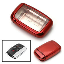 Chrome Red Tpu Key Fob Case w/Button Cover For Land Rover Range Rover Jaguar (Fits: Land Rover)