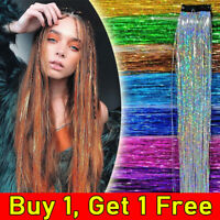 Rainbow Clip in Hair Tinsel Sparkle Holographic Glitter Extensions Dazzles Party