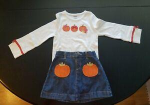 Gymboree Pumpkin Long-sleeve Top Size 3 And Denim Skirt Size 3T NWT
