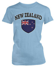 New Zealand Flag Country Pride Crest Soccer All Whites Football Juniors T-Shirt