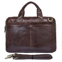 "Men's Retro Genuine Leather Messenger Shoulder Bag 15"" Laptop Case Briefcase"
