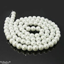 50 Glaswachsperlen 8mm weiss glänzend Perlen Glasperlen weiß