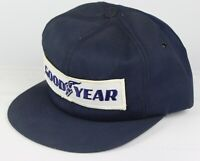 Vintage Swingster Goodyear Patch Snapback Trucker Hat Cap 80s Made In USA Blue