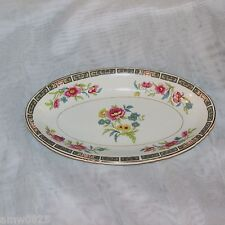 JOHN MADDOCK VINTAGE OVAL RELISH DISH FLORAL CENTER PINK BLUE ROYAL VITREOUS