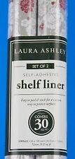 Laura Ashley Shelf Drawer Liner Self-Adhesive 2 Rolls Gray White Red Flowers