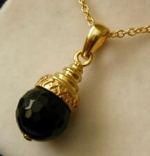 Vintage Style  9K 9ct SOLID YELLOW Gold Black Goldstone PENDANT Great Gift