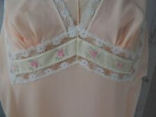 1960s Peachy/Pink NIGHTGOWN NEGLIGEE LINGERIE LACE FULL LENGTH 1970s Small