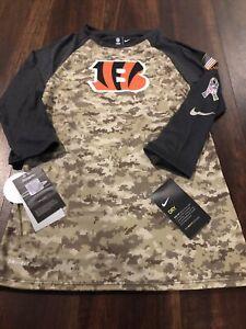 Nike Cincinnati Bengals Womens NFL Football Salute To Service Shirt Size XS Camo
