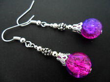 A PAIR OF TIBETAN SILVER PURPLE/PINK CRACKLE GLASS BEAD  EARRINGS. NEW.