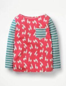 Mini Boden Girls Llama Pink Hotchpotch Pocket Long Sleeve Top 2-12 Yrs