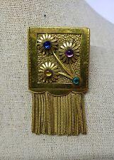 Vintage Deco Floral Fur Dress Shoe Clip Jeweled Fringe Tassel Pin Womens Jewelry