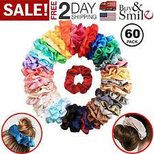 60 Pcs Colorful Velvet Hair Band Scrunchies Set, Elastic Bobble For Ponytail
