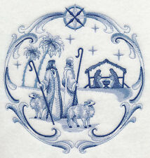 """DELFT BLUE CHRISTMAS NATIVITY SHEPHERDS 8"""" MACHINE EMBROIDERED QUILT BLOCK (HP)"""