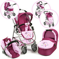 Bayer Chic 2000 Puppenwagen Emotion All In Kombi 3 in 1 Dots Brombeere Buggy NEU