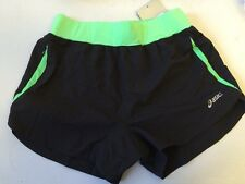 Asics Womens Woven Shorts Running Gym Shorts Black & Green UK XS