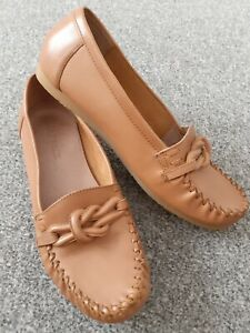 FAT FACE SHOES SIZE UK 6 39 BROWN LEATHER MOCCASIN COMFORT FLATS DRIVING SHOES
