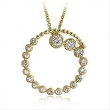 """18K Gold over 925 Silver CZ Circle Journey Pendant, 18"""""""