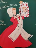 Vtg Norcross Christmas Greeting Card Lady Flock Fur Scarf Peppermint Angel 50s