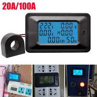 LCD Digital 20/100A Panel Power Watt Meter Monitor Voltage KWh Voltmeter Ammeter