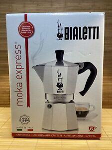 Bialetti Moka Express 6 Cup Italian Coffee Maker New/Sealed Aluminum Silver