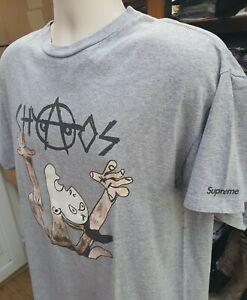 Sehr Selten FW10 Supreme Chaos T-Shirt Grau T-Shirt Größe L Vintage