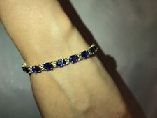 Estate 14k Yellow Gold Sapphire Diamond Bracelet