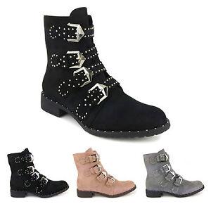 Womens Suede Biker Ankle Boots Stud Buckle Low Block Heel Ladies Military Combat