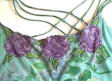 April Cornell Dress Size M Long Spaghetti Straps Aqua Blue Green Purple Floral