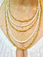 Vintage 1950's White & Gold Tone Multi Chain Necklace