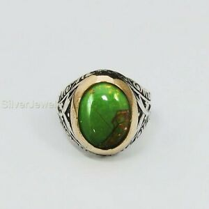 Turkish Handmade 925 Sterling Silver Green Turquoise Men's Ring All Sizes P745