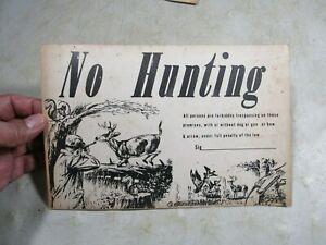 Vintage Cardboard No Hunting Sign Dog Gun Bow & Arrow Great Graphics Deer Ducks