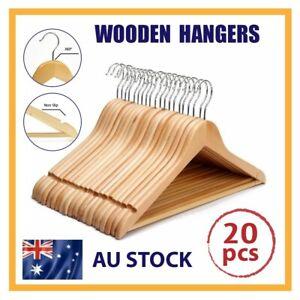 20 Pcs Wooden Hangers Clothes Coat Pant Suit Garments Trouser Rack Wardrobe