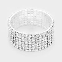 7 row silver crystal stretch bracelet bangle cuff bridal prom pageant 12