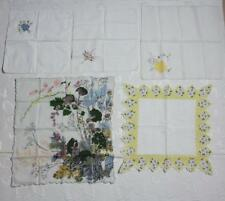 Vintage Floral Cotton Handkerchiefs Lot of 5 Ladies Hankies Printed/Embroidered