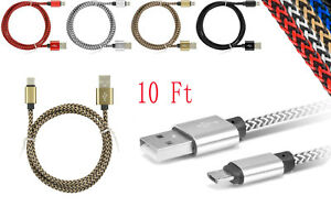 Micro USB Fast Charger Data Sync Cable Braided Cord for Samsung Android
