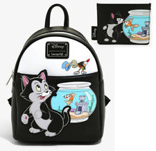 Disney Loungefly Pinocchio Figaro Jiminy Cricket Mini Backpack Bag & Cardholder