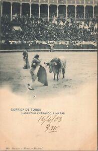 UDB postcard 1904 - Corrida de Toros, Lagartijo Entrando a Matar, bullfight