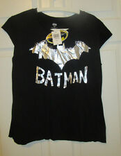 Womens Batman Shirt Foil Logo Black Silver New Juniors Girls XL Extra Large NWT